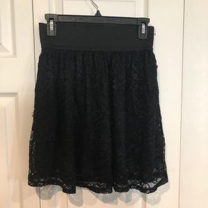 Cute and fun black lace skirt